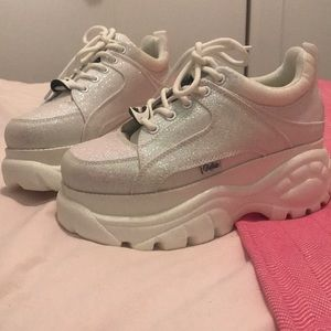 Buffalo London White Sparkle Sneaker
